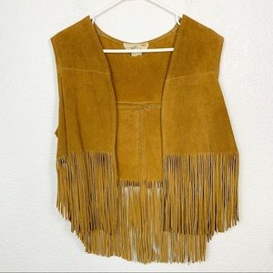 Vintage Genuine Leather Western Fringe Vest
